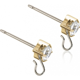 Blomdahl Golden Titanium Safety Ear Pin CZ White