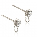 Blomdahl Silver Titanium Safety Ear Pin CZ White