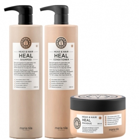 Maria Nila Head & Hair Heal Shampoo + Conditioner 1000ml & Masque 250ml