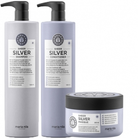 Maria Nila Sheer Silver Shampoo + Conditioner 1000ml & Masque 250ml