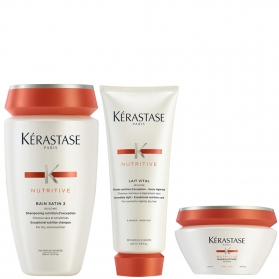 Kérastase Nutritive Bain Satin 2 250ml Lait Vital 200ml & Masquintense  Epais For Thick Hair 200ml