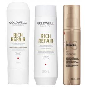 Goldwell Restoring Pack, shampo, balsam, rich keratin care